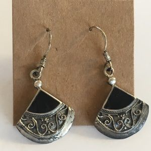 Jewelry - Sterling and Onyx Fan Earrings